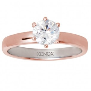 XS7356R/54, Ring Silber rosevergoldet Zirkonia