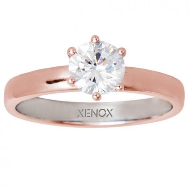XS7356R/56, Ring Silber rosevergoldet Zirkonia
