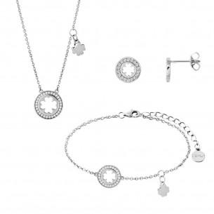 Xenox Set Collier 40-45cm, Ohrschmuck, Armband 15-18,5cm - XS SUN DANCE KLEEBLATT SET