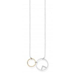 Collier Silber vergoldet - Kreise, KE1753-414-7-55V