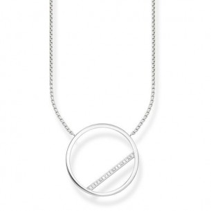 Collier Silber - Kreis mit Zirkonia, KE1752-051-14-L45V