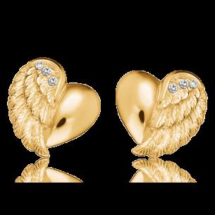 Ohrstecker silbevergoldet - Herzflügel, ERE-LILHEARTWING-STG