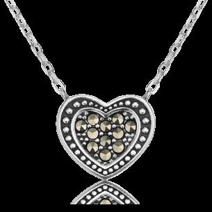 Collier Silber - Herzkette Markasit, ERN-HEART-MA