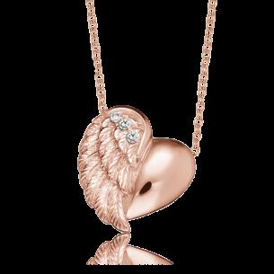 Collier silberrose vergoldet - Herzflügel 11 mm, ERN-LILHEARTWING-R