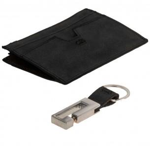 Cow Style Lederset - Cardholder mit Geldfach und Schlüsselanhänger - COWSCHWARZ