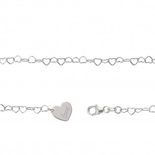 Fusskette Silber 925 Herz, FSK07
