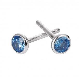 SI 925 Kinderohrstecker mit blauen Stein, KIS39