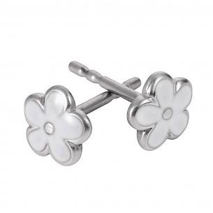 KIS41, SI 925 Kinderohrstecker Blume BC weiß