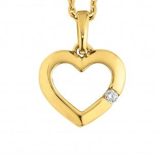 Goldkette Anker 585, mit Herzanhänger Zirkonia, HERZSET-HW18