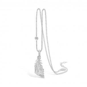 Blossom Kette Silber 925/- mit Feder Silber 925/- satiniert 21301121-80, 2130112180