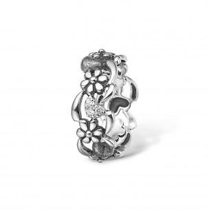 Blossom Ring Silber 925/- glänzend oxid Zirkonia Flower 22621158-54, 22621158
