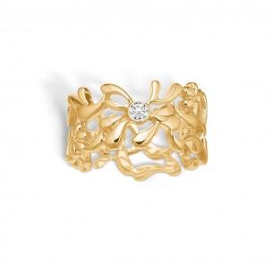 Blossom Ring Silbervergoldet 925/- Zirkonia - 23621083-54, 23621083