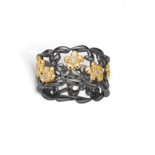 Blossom Ring silbervergoldet 925/- Zirkonia - Flowers 25621107-54, 25621107