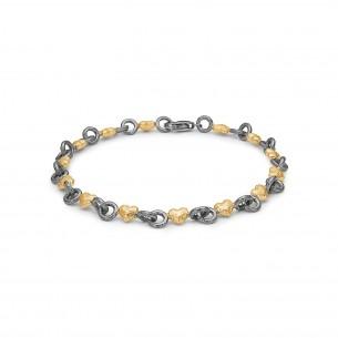 Blossom Armband silbervergoldet 925/- oxidiert Herz 25101187-19,