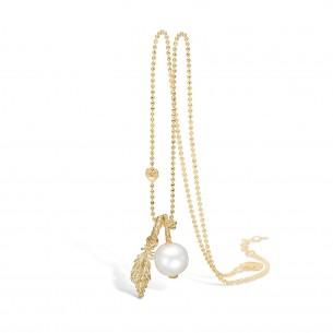 Blossom Silberkette vergoldet mit Perlanhänger Feder 925/- Zirkonia 23331220-80, 23331220