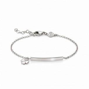 Nomination Armband mit hängendem Kleeblatt und gravierbarer Plakette 146233/011, 8033497455727