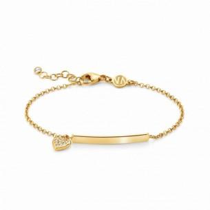 Nomination Armband vergoldet - mit hängendem Herz und Gravurplakette 146233/008, 8033497455697