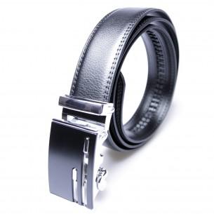 Herren Ledergürtel . schwarz . Länge 126 cm kürzbar, JUWAG-050