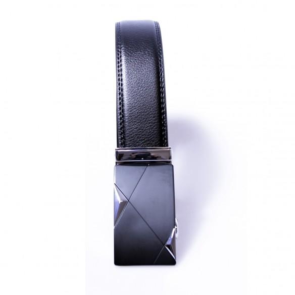 Herren Ledergürtel . schwarz . Länge 126 cm kürzbar, JUWAG-045