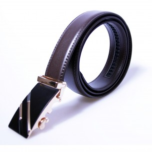 Herren Ledergürtel . braun . Länge kürzbar . Automatikschnalle vergoldet, JUWAG-022