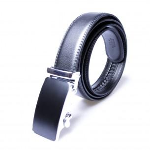Herren Ledergürtel schwarz . Länge kürzbar . Automatikschnalle, JUWAG-002