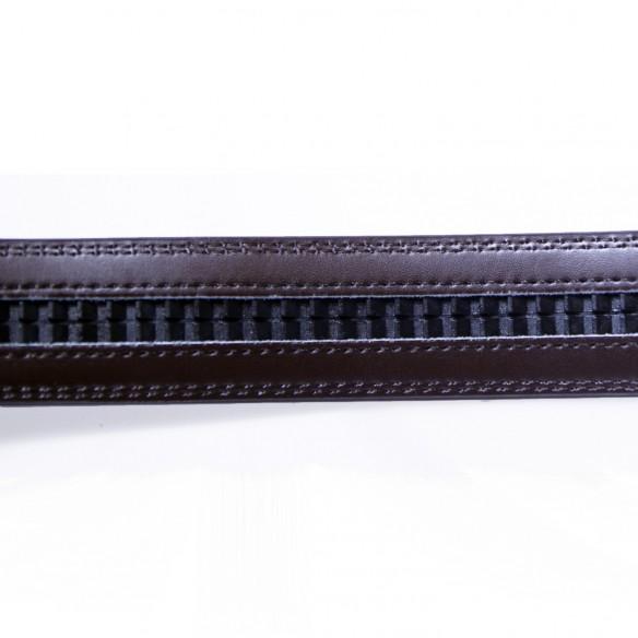 Herren Ledergürtel . braun . Länge 126 cm kürzbar . vergoldet, JUWAG-022