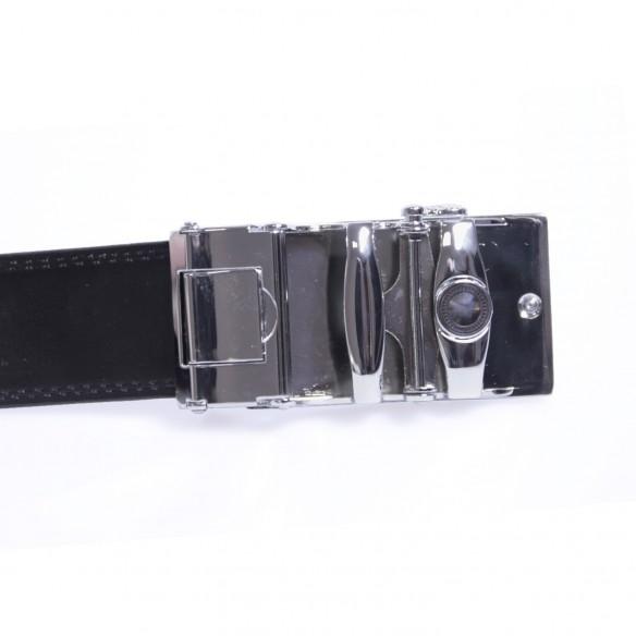 Herren Ledergürtel . schwarz . Länge 126 cm kürzbar, JUWAG-004