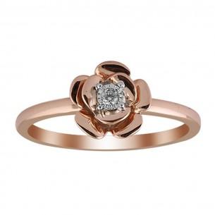 Brillantring Blume Weissgold Rose gold 585, Brillant 0,03 p1w, GSET05R_18