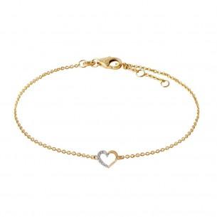 Stardiamant Armband Gold 585, mit Herz Diamanten, D2615G