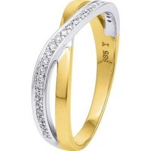 Damen-Ring Weiß- und Gelbgold Diamant 0,13 ct H/Si, SOR02-54
