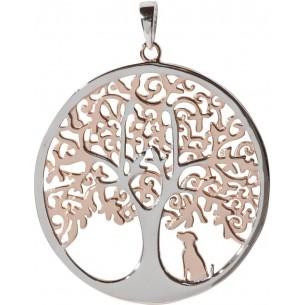 Anhänger Lebensbaum mit Hund 925, silberrose vergoldet, ALB11008