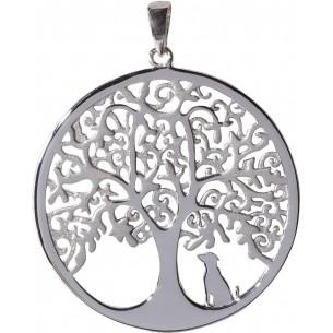 Anhänger Lebensbaum mit Hund 925, Silber, ALB1008