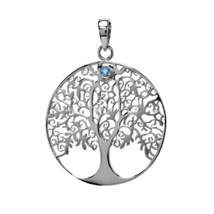 Lebensbaum Anhänger mit Blautopas, ALB1004