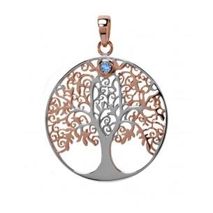 Lebensbaum Anhänger mit Blautopas, ALB11004
