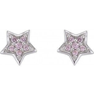 Ohrstecker Kinder - Stern Silber rosa Stein, KIS35