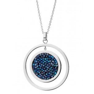 Edelstahlcollier mit blauen Kristallen, EL129-0906