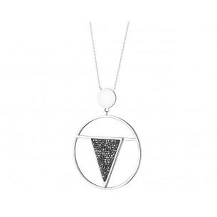 Edelstahlcollier mit schwarzen Kristallen, EL128-9884