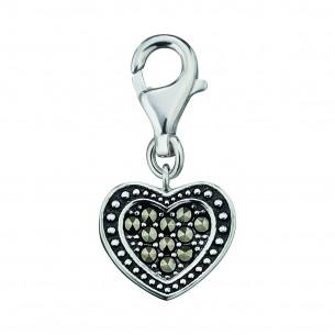 Anhänger Charm Herz Silber 925, Markasit, ERC-HEART-MA