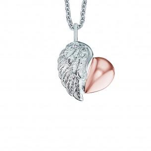 Silberkette mit Herzanhänger rose´vergoldet 925, ERN-LILHEARTWING-BI