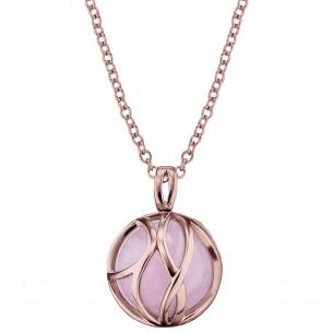 Collier Silber rose vergoldet mit Rosenquarz, ERN-LILPARADISE-RQ-R