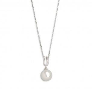Xenox Silberkette mit Kunstperle und Zirkonia, XS5370