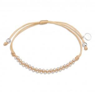Xenox Textilarmband mit Beads aus Silber, XS3595