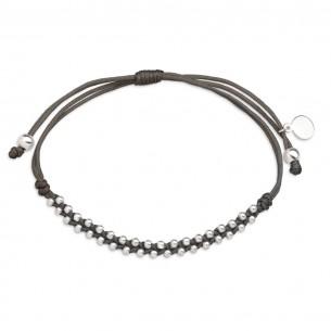 Xenox Textilarmband mit Beads aus Silber, XS3593