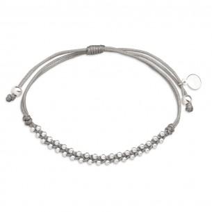 Xenox Textilarmband mit Beads aus Silber, XS3594
