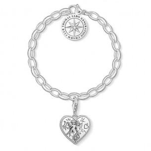 Armband Silber - Herz Charm, SET0554-643-14-L19,5V