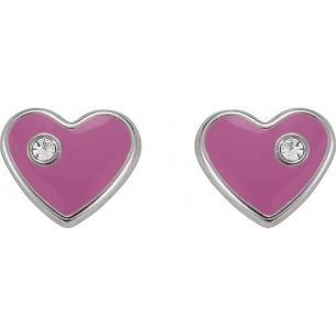 Kinderohrstecker - Herz rosa Silber, KIS30