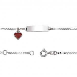 Schildarmband mit Herzanhänger BC rot, KIS27
