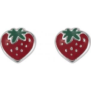 SI 925 Kinderohrstecker Erdbeere rot/grün, KIS33