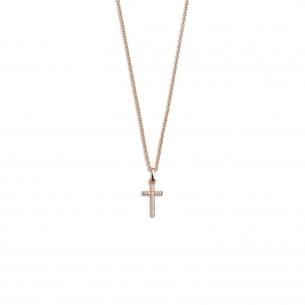 Silberkette mit Kreuz rose vergoldet, XS3522RK