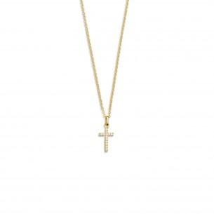 Silberkette mit Kreuz vergoldet, XS3522GK
